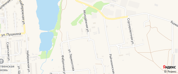 Молодежная улица на карте поселка Прогресса с номерами домов