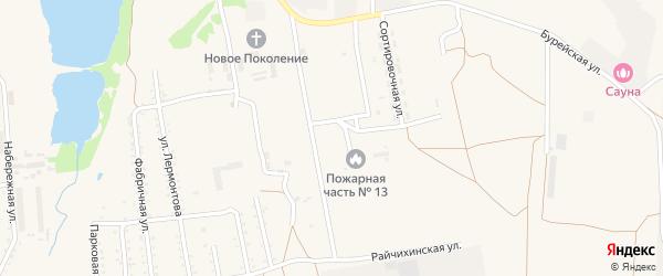Зеленая улица на карте поселка Прогресса с номерами домов