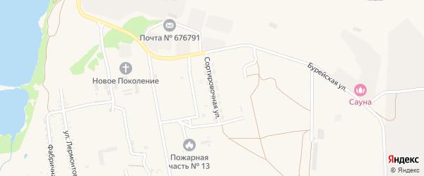 Сортировочная улица на карте поселка Прогресса с номерами домов