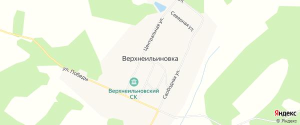 Карта села Верхнеильиновка в Амурской области с улицами и номерами домов