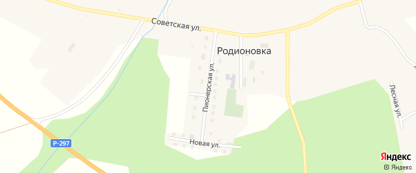Пионерская улица на карте села Родионовки с номерами домов