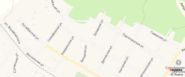 Западная улица на карте поселка Буреи с номерами домов