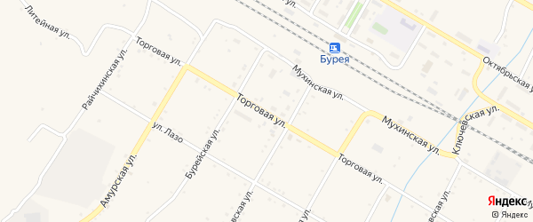 Южная улица на карте поселка Буреи с номерами домов