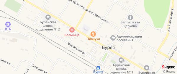 Октябрьская улица на карте поселка Буреи с номерами домов