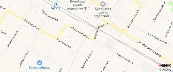 Мухинская улица на карте поселка Буреи с номерами домов