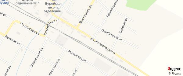 Улица Желябовского на карте поселка Буреи с номерами домов