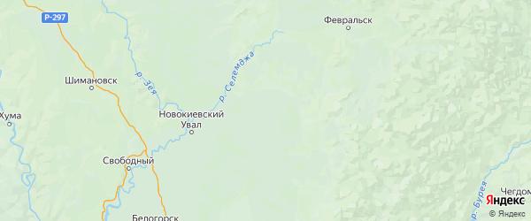 Карта Мазановского района Амурской области с городами и населенными пунктами