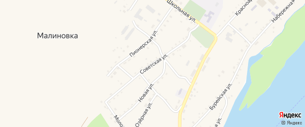 Советская улица на карте села Малиновки с номерами домов