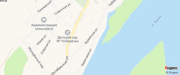 Бурейская улица на карте села Малиновки с номерами домов
