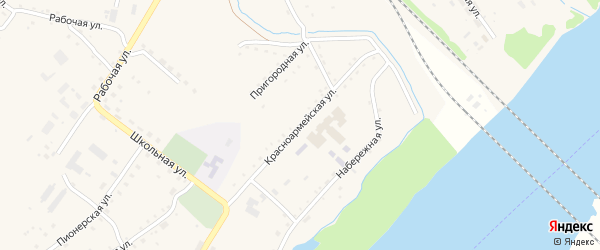 Красноармейская улица на карте села Малиновки с номерами домов