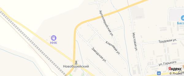 Заводской переулок на карте Новобурейского поселка с номерами домов