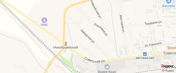 Заводская улица на карте Новобурейского поселка с номерами домов