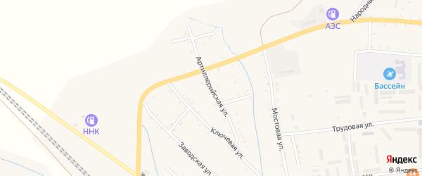 Артиллерийская улица на карте Новобурейского поселка с номерами домов