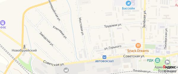 Мостовой переулок на карте Новобурейского поселка с номерами домов