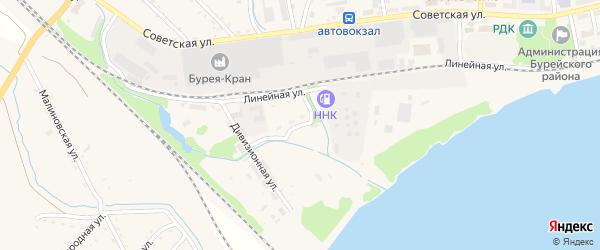 Дивизионный переулок на карте Новобурейского поселка с номерами домов