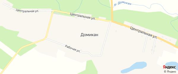 Рабочая улица на карте села Домикана с номерами домов