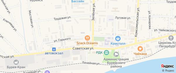 Улица Горького на карте Новобурейского поселка с номерами домов