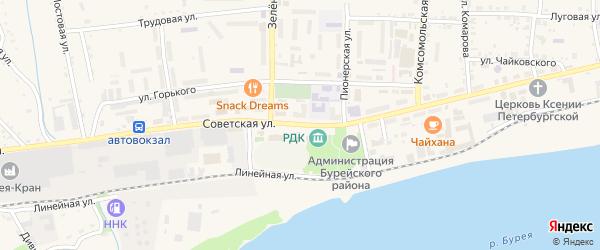 Советская улица на карте Новобурейского поселка с номерами домов