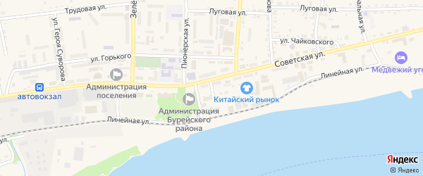 Речная улица на карте Новобурейского поселка с номерами домов