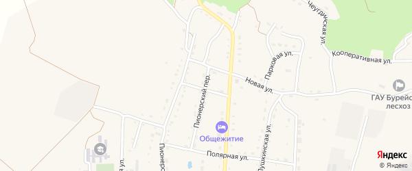 Пионерский переулок на карте Новобурейского поселка с номерами домов