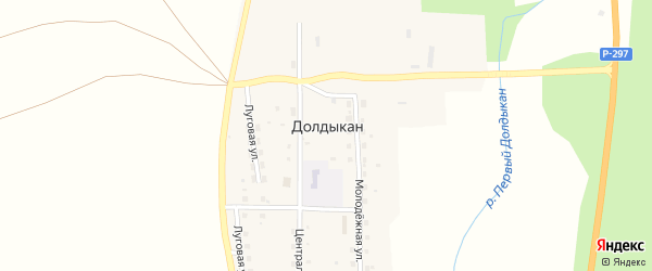 Молодежная улица на карте села Долдыкана с номерами домов