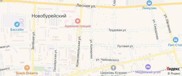 Улица Комарова на карте Новобурейского поселка с номерами домов