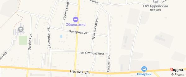 Пушкинская улица на карте Новобурейского поселка с номерами домов