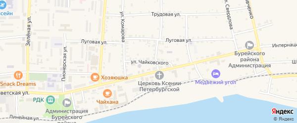 Улица Чайковского на карте Новобурейского поселка с номерами домов