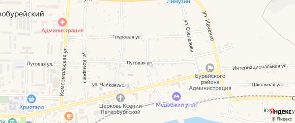 Театральная улица на карте Новобурейского поселка с номерами домов