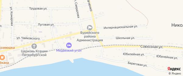 Крестьянский переулок на карте Новобурейского поселка с номерами домов