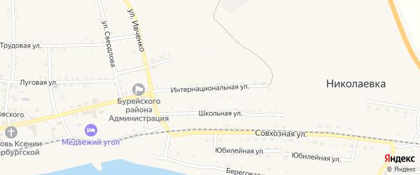 Интернациональная улица на карте села Николаевки с номерами домов
