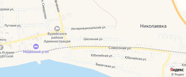 Школьная улица на карте села Николаевки с номерами домов