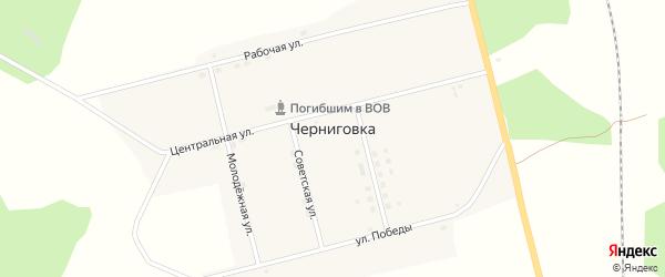 Советская улица на карте села Черниговки с номерами домов