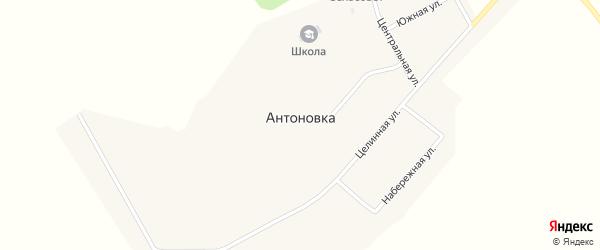 Центральный переулок на карте села Антоновки с номерами домов