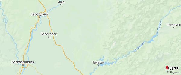 Карта Ромненского района Амурской области с городами и населенными пунктами