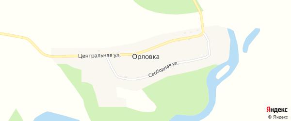 Свободная улица на карте села Орловки с номерами домов