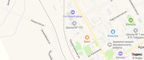 Бригадный переулок на карте поселка Архары с номерами домов