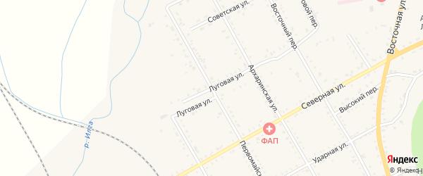 Луговая улица на карте поселка Архары с номерами домов