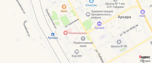 Школьная улица на карте поселка Архары с номерами домов