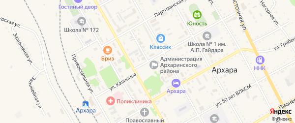 Торговый переулок на карте поселка Архары с номерами домов