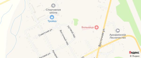 Луговой переулок на карте поселка Архары с номерами домов