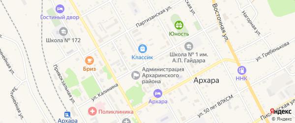 Улица Калинина на карте поселка Архары с номерами домов