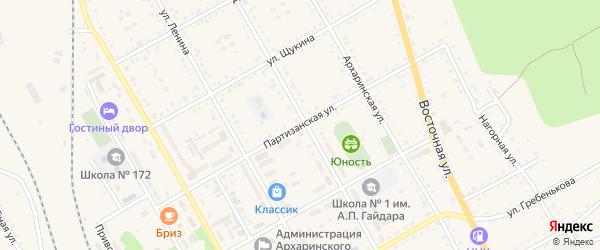 Партизанская улица на карте поселка Архары с номерами домов
