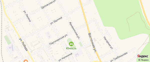 Архаринская улица на карте поселка Архары с номерами домов