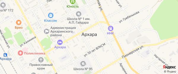 Целинная улица на карте поселка Архары с номерами домов
