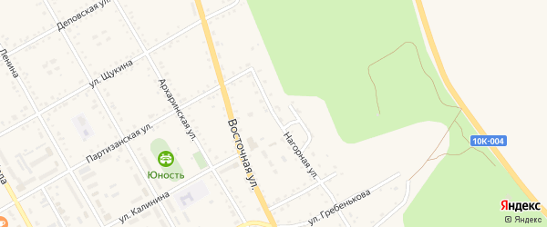 Нагорная улица на карте поселка Архары с номерами домов