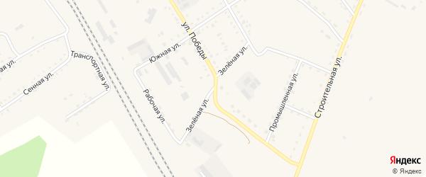 Зеленая улица на карте поселка Архары с номерами домов