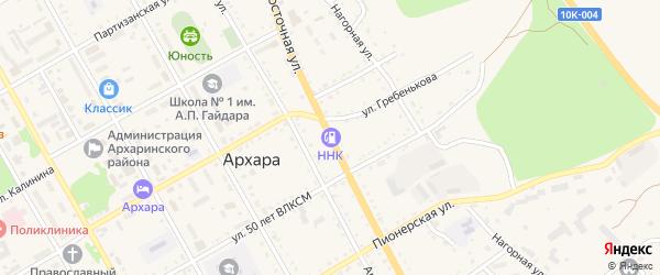 Восточная улица на карте поселка Архары с номерами домов