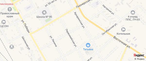 Красноармейская улица на карте поселка Архары с номерами домов