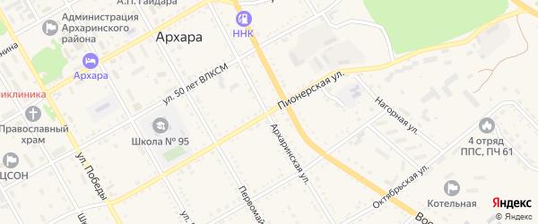 Пионерская улица на карте поселка Архары с номерами домов